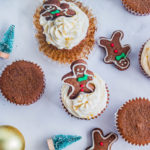 top down view of cupcakes topped with gingerbread men