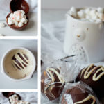 A collage of images of hot chocolate bombs