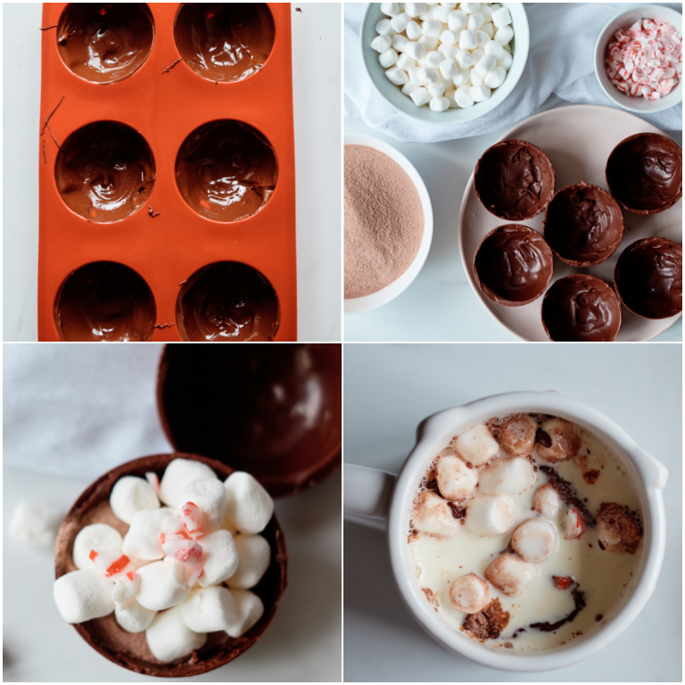 image collage showing the steps for making hot chocolate bombs