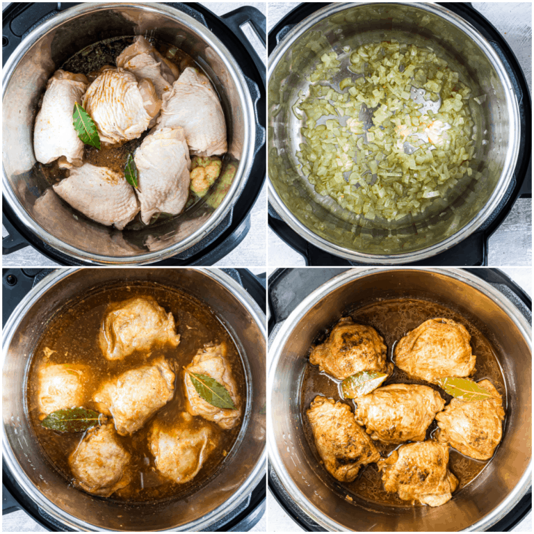 image collage showing the steps for making instant pot adobo chicken