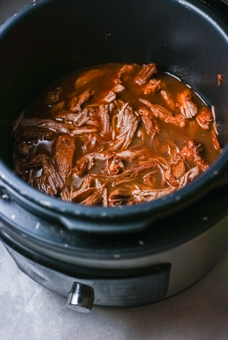 cooked italian beef inside the instant pot