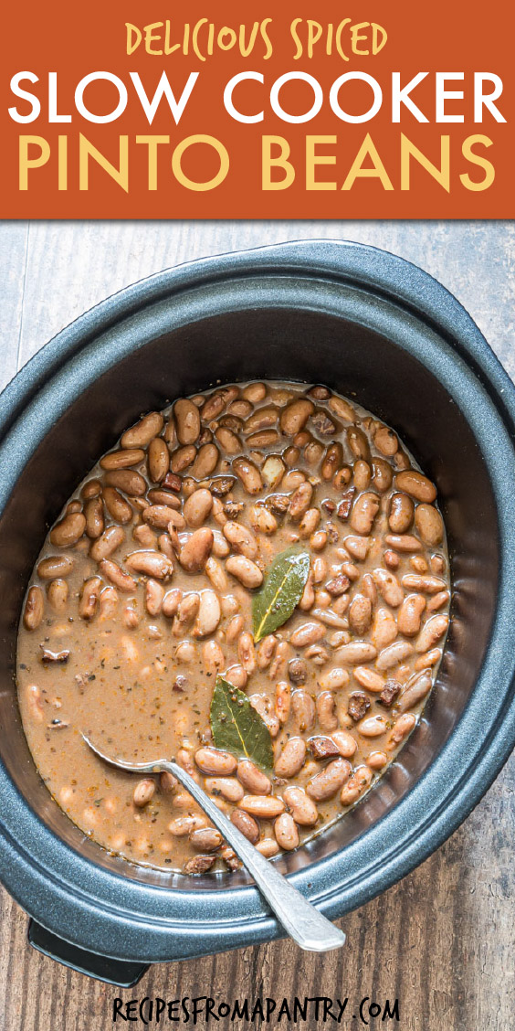 top down view of pinto beans in a crock pot