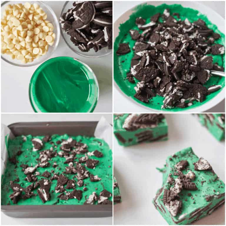 image collage showing the steps for making oreo fudge