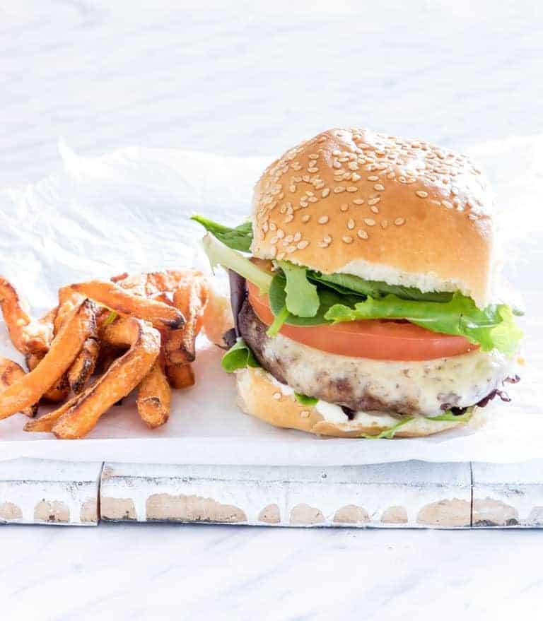 Air Fryer Hamburgers = an air fryer burger with sweet potato fries