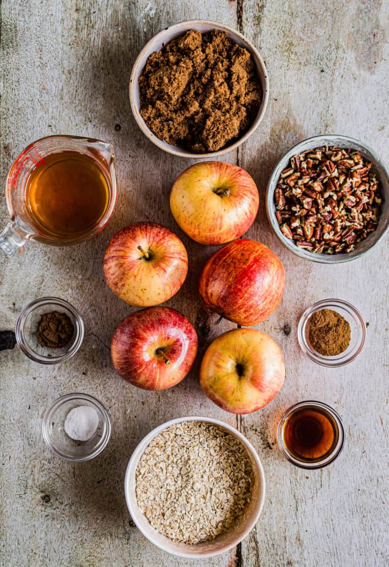 the ingredients needed to make baked apples with pecan streusel topping