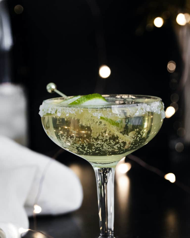 side view of a champagne margarita cocktail