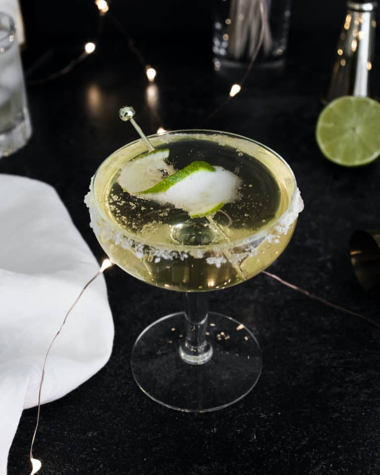 a top down view of the finished margarita champagne cocktail
