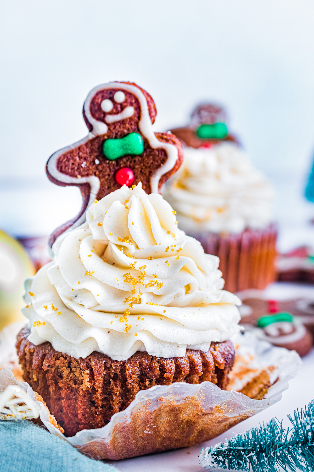close up of one gingerbread cupcake