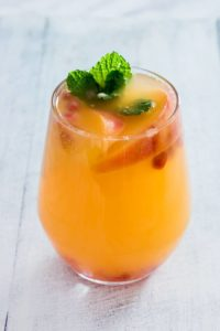 closeup of a peach bellini