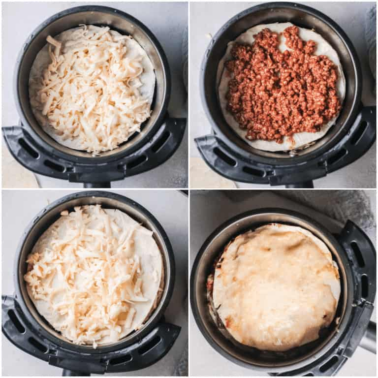 image collage showing the steps for making air fryer taco lasagna