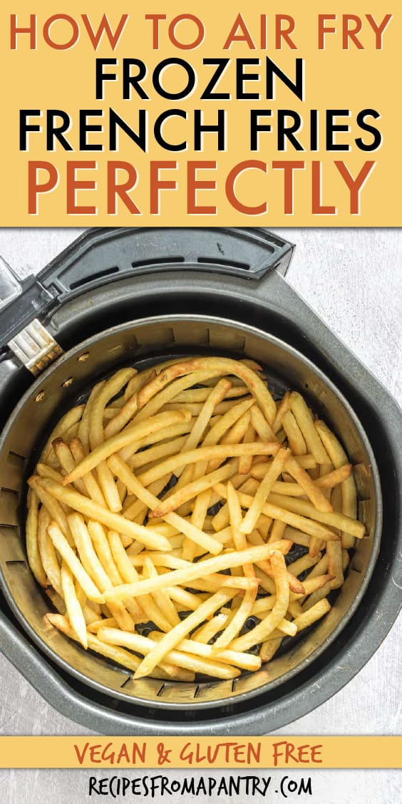 TOP DOWN VIEW OF FRENCH FRIES IN AN AIR FRYER