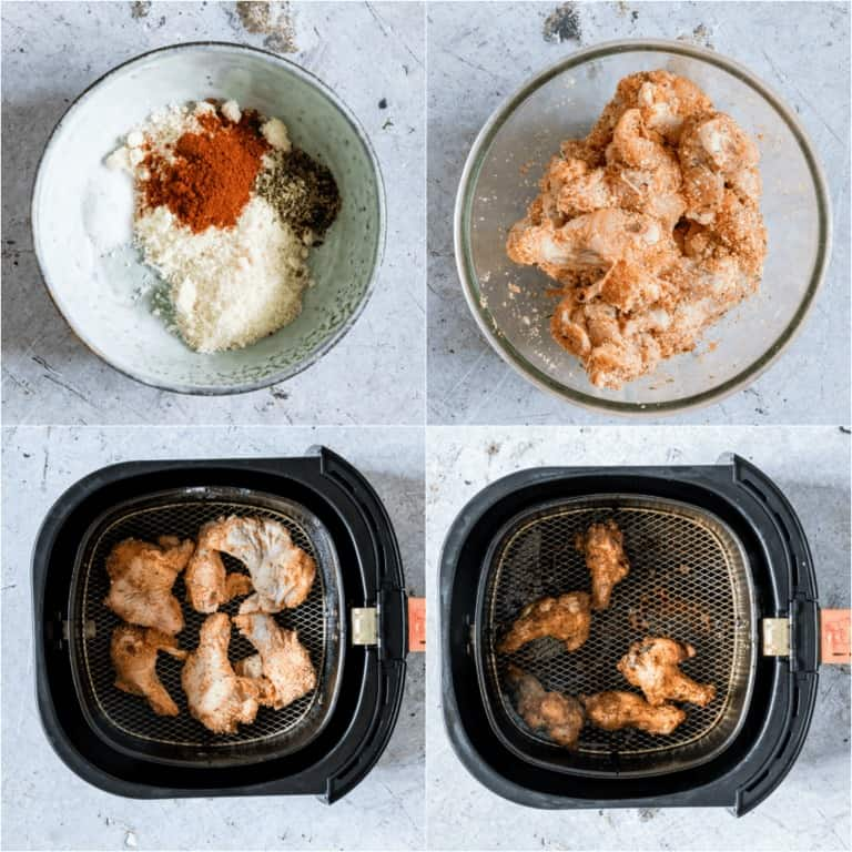 image collage showing how to make Air Fryer Chicken Wings