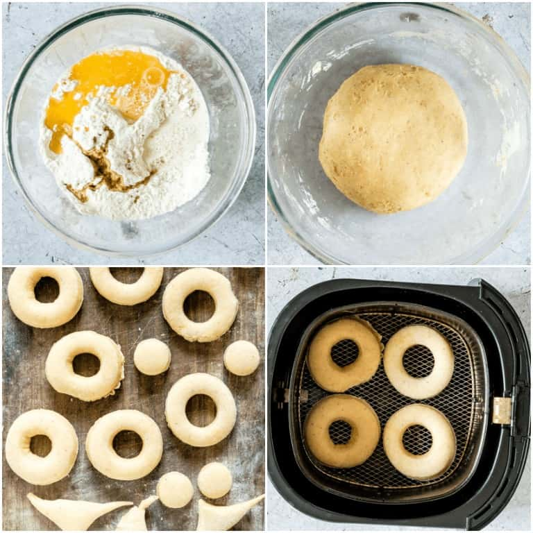 image collage showing the steps for making Air Fryer Donuts