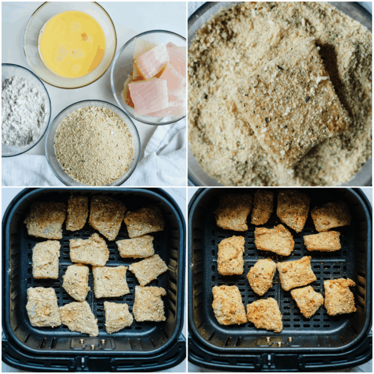 image collage showing the steps for making air fryer fish sticks