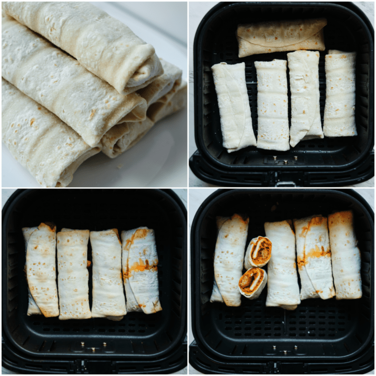 image collage showing the steps for making frozen burrito in air fryer