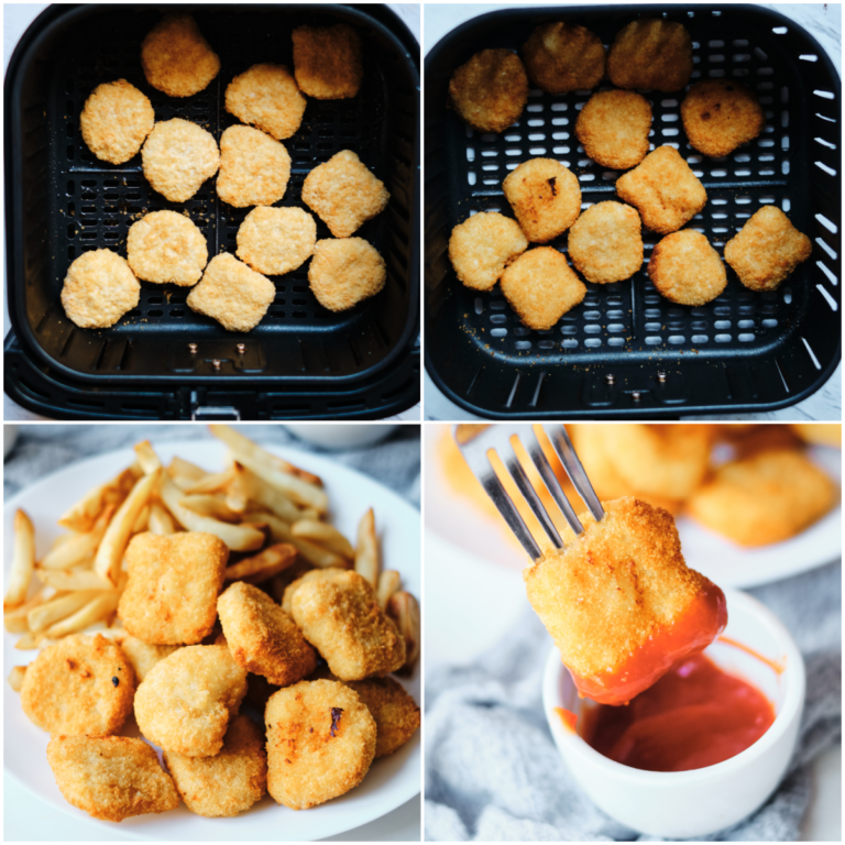 image collage showing the steps for making frozen chicken nuggets in air fryer