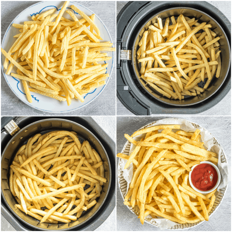 imge collage showing the steps for making frozen french fries in air fryer