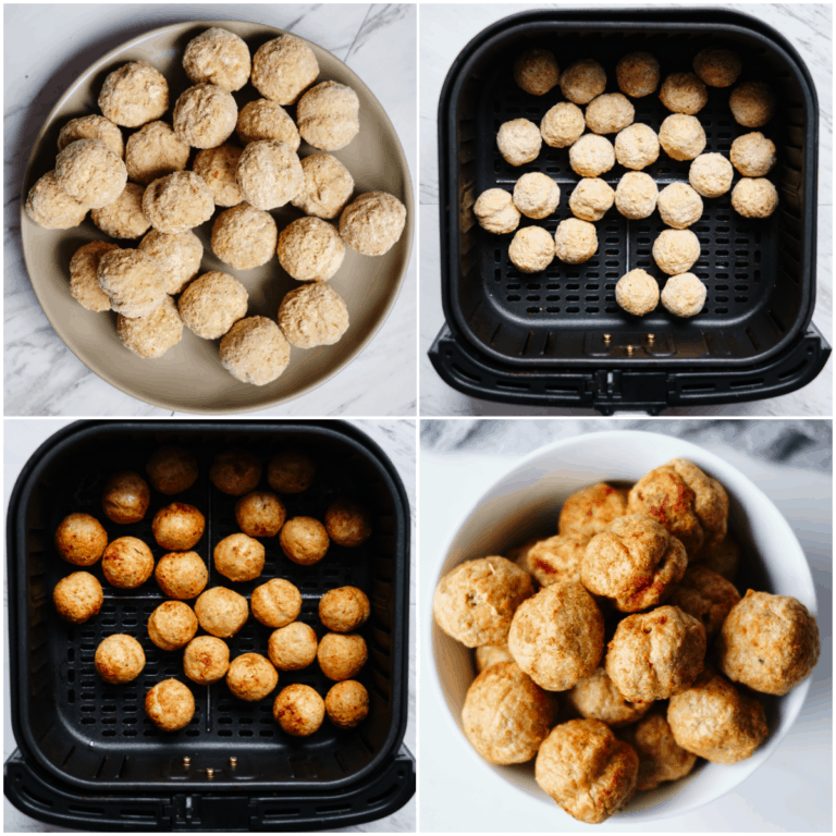 image collage showing the steps for making air fryer frozen meatballs