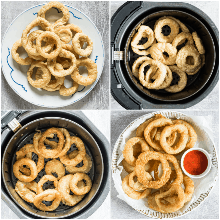 image collage showing the steps for making frozen onion rings in air fryer