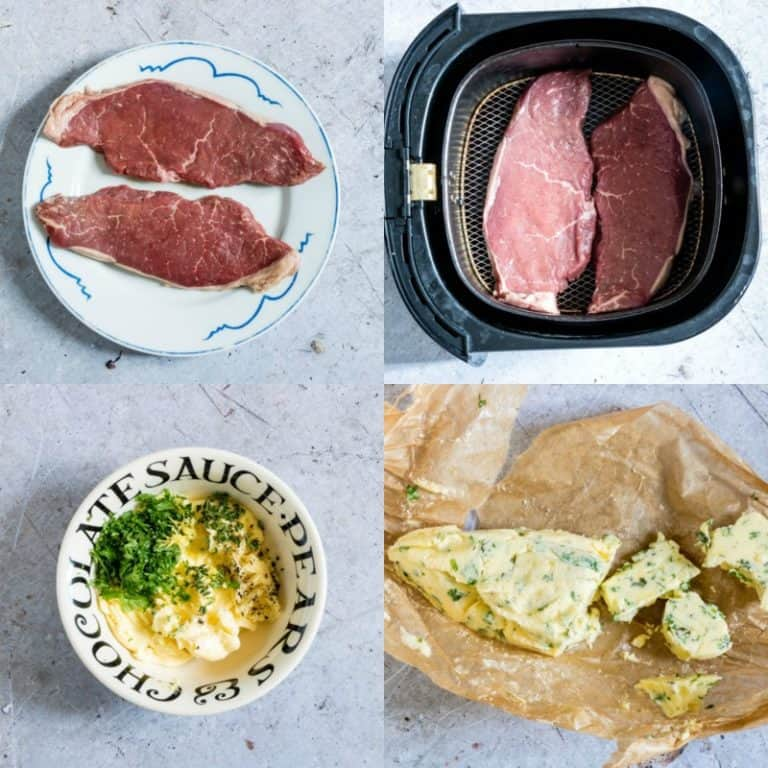 making air fryer steak with herb butter collage