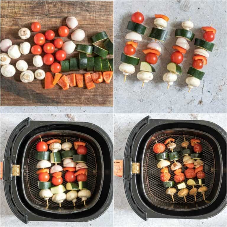 image collage showing the steps for making air fryer vegetable kabobs