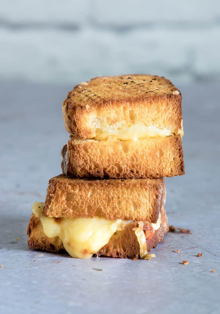 Air Fryer Grilled Cheese sandwich stacked and ready to serve