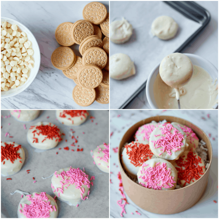 image collage showing the steps for making valentine oreos