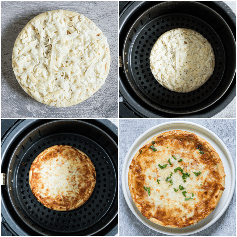 image collage showing how to make frozen pizza in air fryer