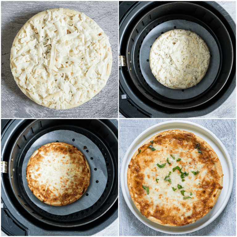 image collage showing the steps for making frozen pizza in air fryer using parchment paper