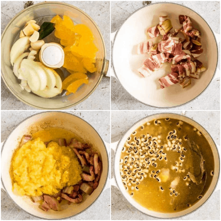 image collage showing the steps for making hoppin john soup