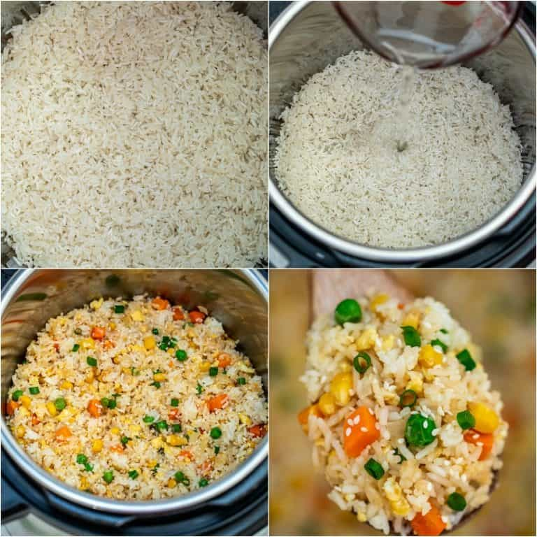 image collage showing the steps for making Instant Pot Fried Rice