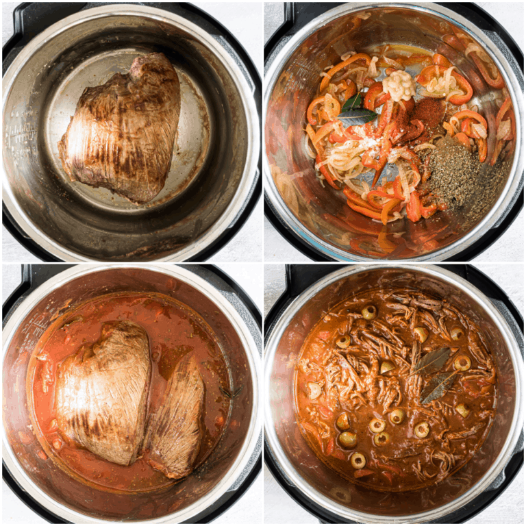 image collage showing the steps for making instant pot ropa vieja