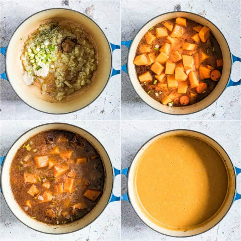image collage showing the steps for making jamaican pumpkin soup