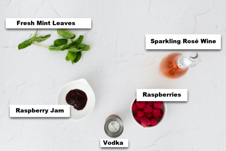 the ingredients needed to make rose spritzer cocktail recipe