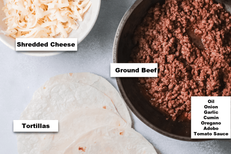 the ingredients needed to make this taco lasagna recipe