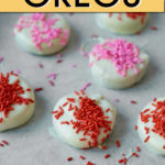 WHITE CHOCOLATE COVERED OREOS WITH SPRINKLES