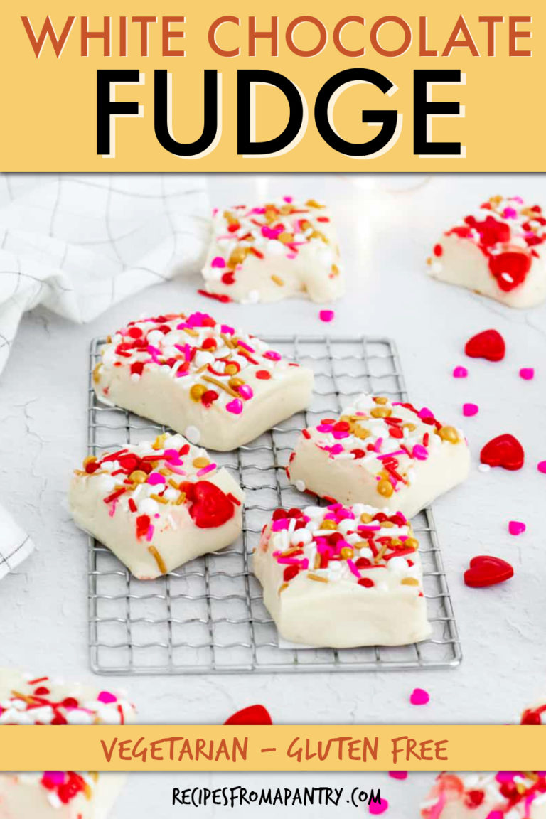 SEVERAL PIECES OF WHITE CHOCOLATE FUDGE ON A COOLING RACK