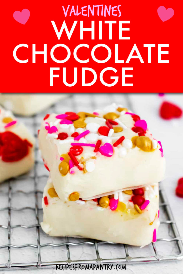 TWO PIECES OF VALENTINES WHITE CHOCOLATE FUDGE STACKED