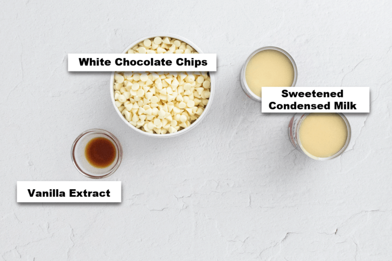 the ingredients needed to make white fudge