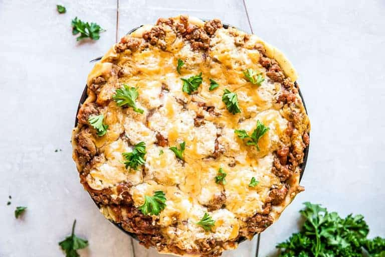 landscape image of cooked instant pot lasagna