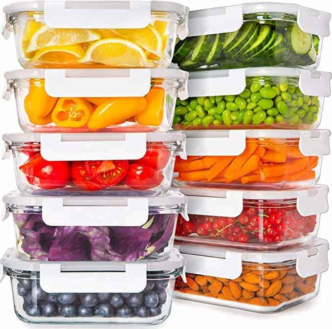 Prep Naturals Glass Food Storage Containers with Lids (24 Ounce, 10pack/20pcs)