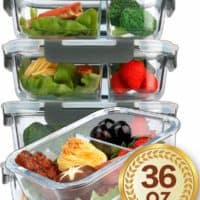 MCIRCO2 Compartments Glass Meal Prep Containers {5 Pack}