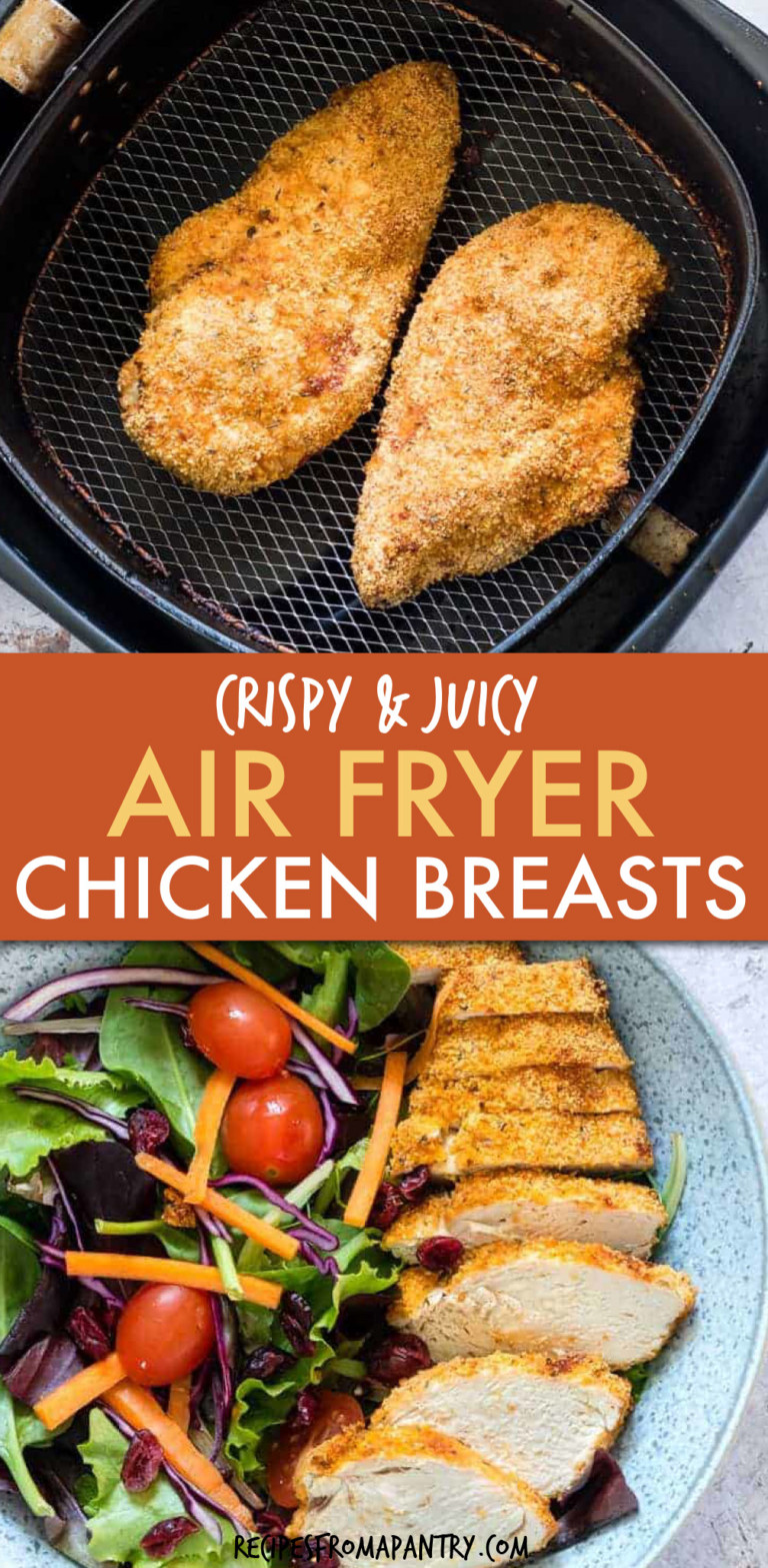 two pics of crispy chicken breast in an air fryer and on a plate with salad
