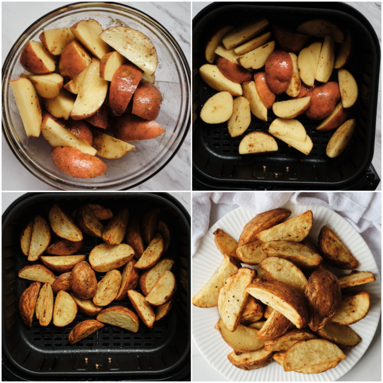 image collage showing the steps for making potato wedges in air fryer