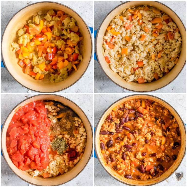 image collage showing the steps for making ground chicken chili