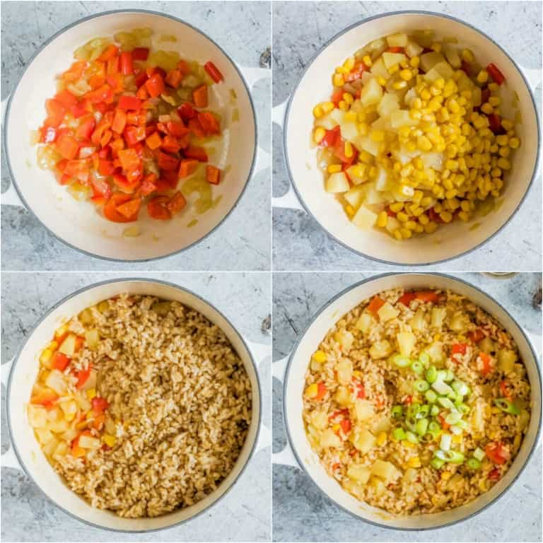image collage showing the steps for making pineapple fried rice