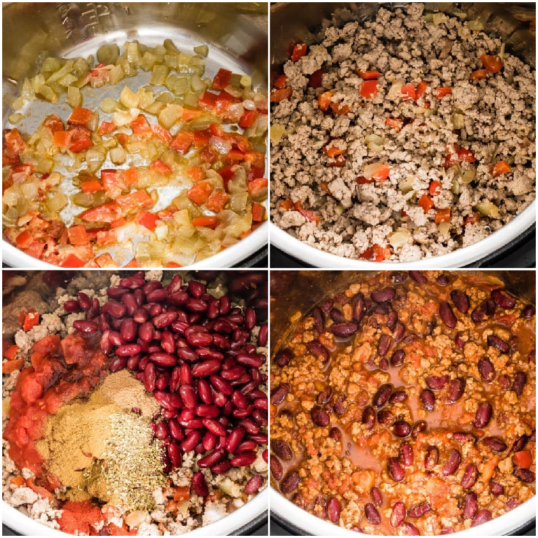 image collage showing the steps for making chicken chili instant pot