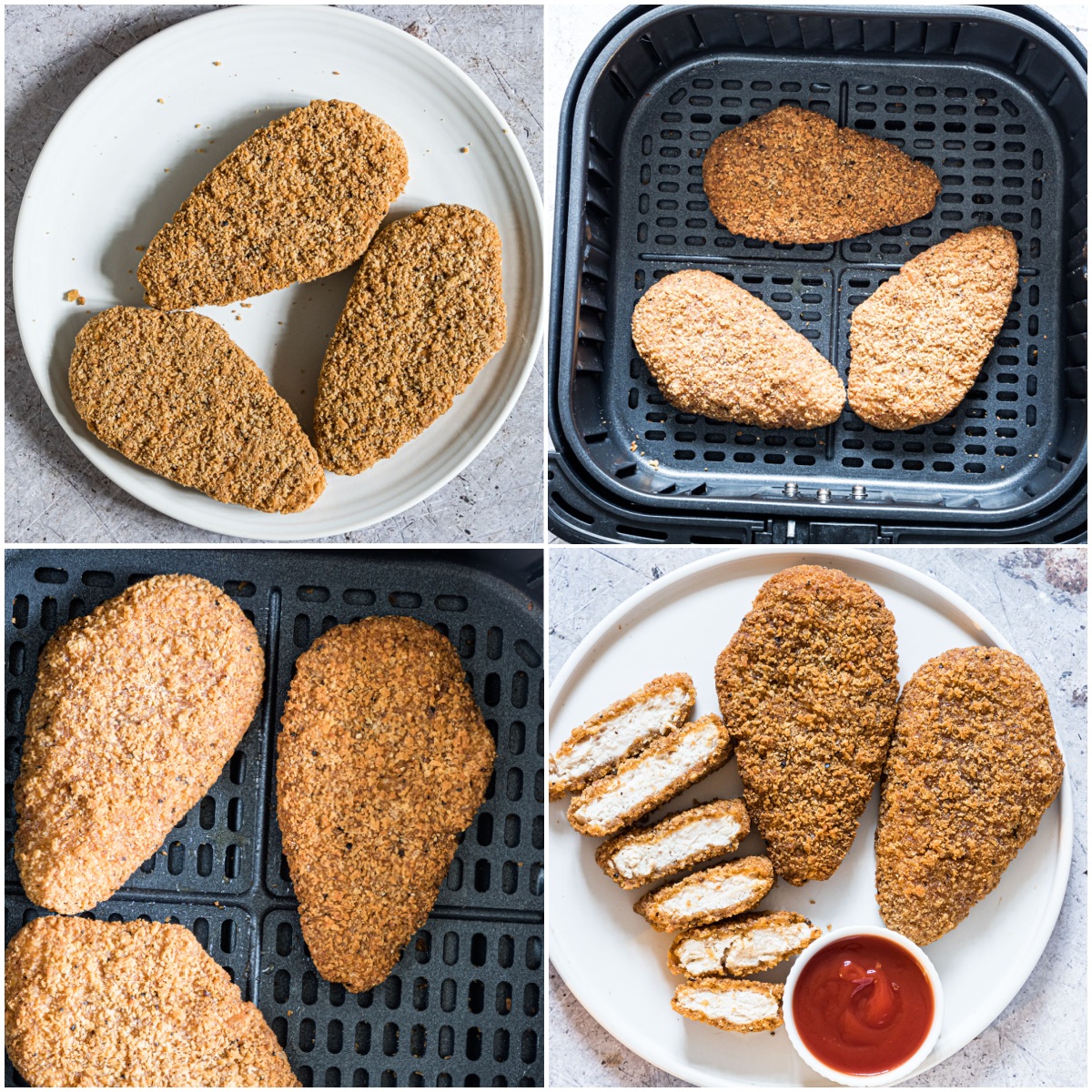 image collage showing the steps for how to reheat fried chicken in air fryer
