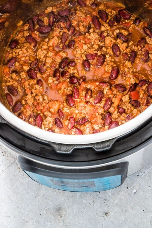 the finished chicken chili instant pot recipe inside the instant pot