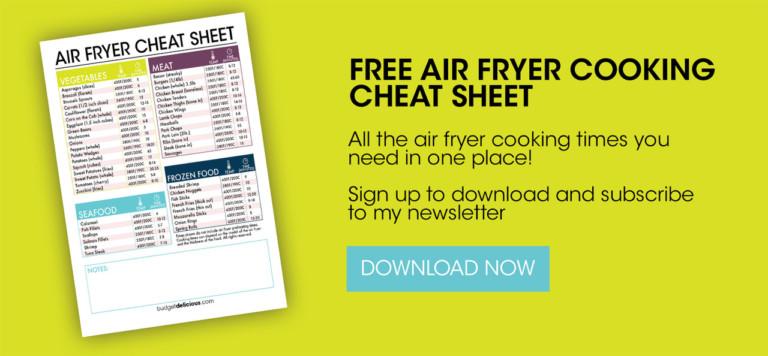 air fryer cheat sheet